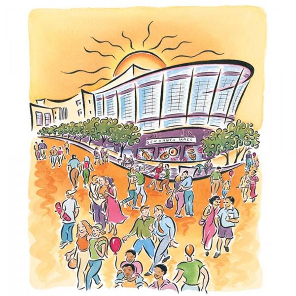 Benaroya Hall music festival poster, building banner, Tshirts & postcards