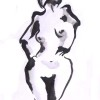 A black and white sumi painting of a nude woman.