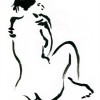 A black and white sumi painting of a seated woman.
