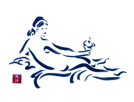 A blue sumi ink painting of a nude woman holding an ice cream cone.