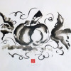 A black and white sumi ink painting of a pumpkin with leaves.