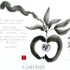 A black and white sumi painting of an apple on a branch with a poem on the left hand side.