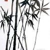 A black and white sumi painting of crossed bamboo