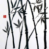 black and white sumi ink painting of bamboo