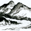 black and white sumi ink paitning of a mountain range and a river