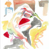 A watercolor life drawing of a nude man stretched out in a studio setting..