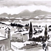 A black and white sumi painting of rooftops in san miguel