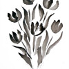 A sumi ink painting of a tulip bouquet.
