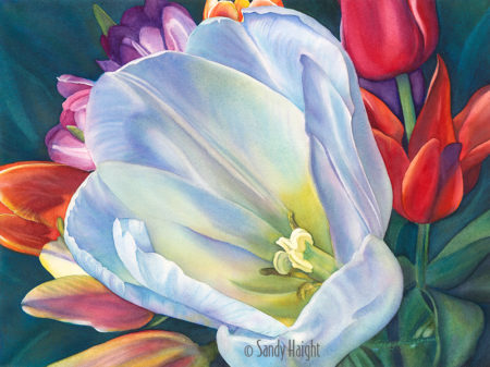 LuminEssence - watercolor painting of tulips