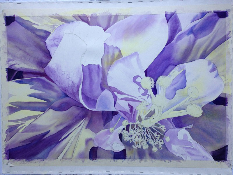 Underpainting establishing values in purple