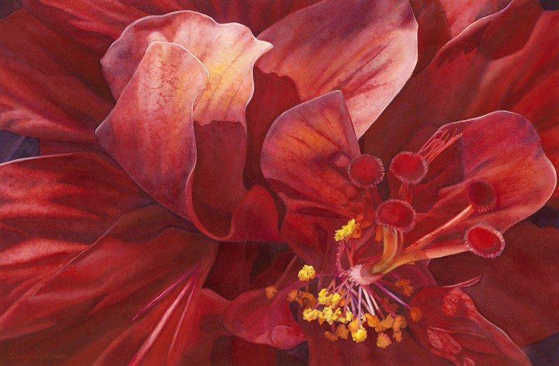 """Kilauea's Kiss"" © Sandy Haight.  Watercolor 28"" x 18.5"""