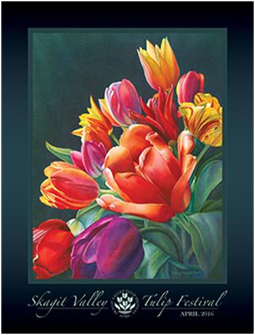 Poster for 2016 Skagit Valley Tulip Festival featuring art by Sandy Haight of a bouquet of tulips.