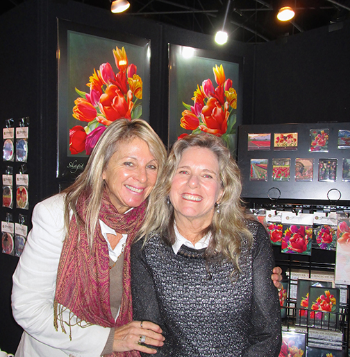 Jody Bergsma and Sandy Haight with tulip festival products.