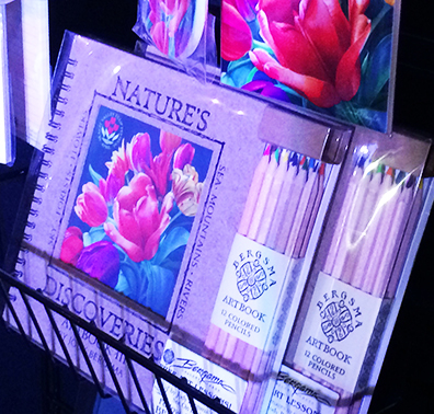 Sketchbook showing tulip festival artwork by Sandy Haight