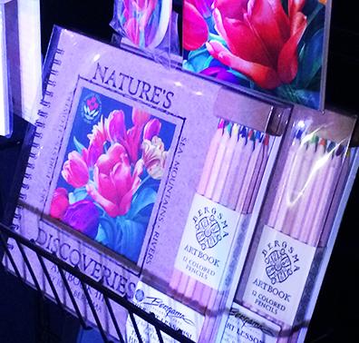 Sketchbook showing tulip festival artwork by Sandy Haight