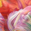 Large watercolor painting of an up close view of a parrot tulip bloom in oranges, pinks and green.