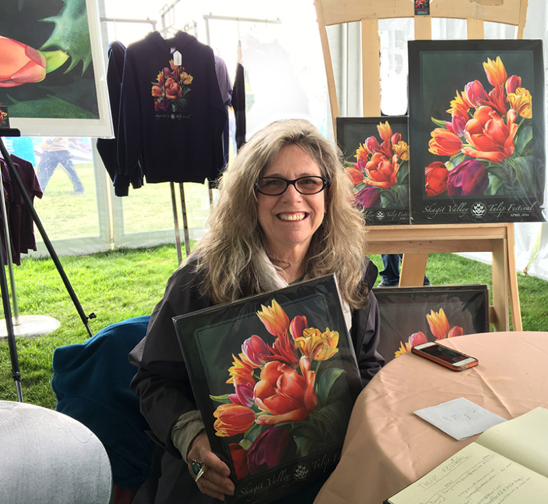 Sandy Haight - 2016 Skagit Valley Tulip Festival poster artist. Photo by Trish Harding, next year's artist!