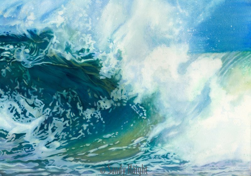 Watercolor painting of an ocean wave cresting and breaking from the bodysurfer's point of view.