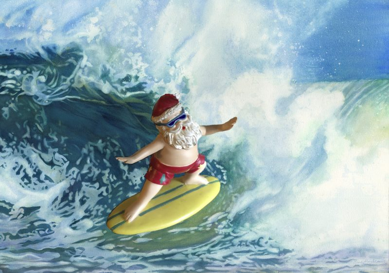 Hawaiian Santa surfing a watercolor wave
